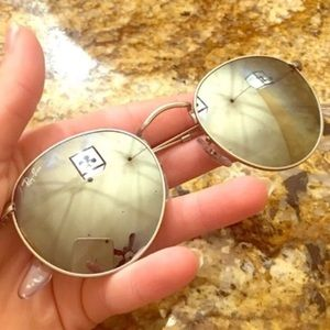 Ray-Ban Accessories - Silver flash ray ban round sun glasses